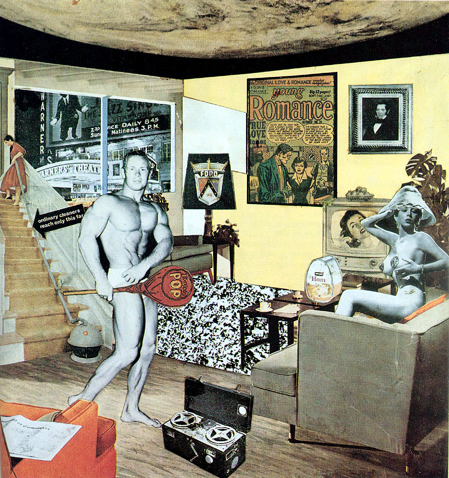 "Richard Hamilton, Just What Is It That Makes Today's Homes So Different, So Appealing?, 1956, collage on paper, 10¼"" x 9¾"", Kunsthalle Tübingen, Sammlung Zundel, Germany.  Photo by Ian Burt under a Creative Commons Attribution License."