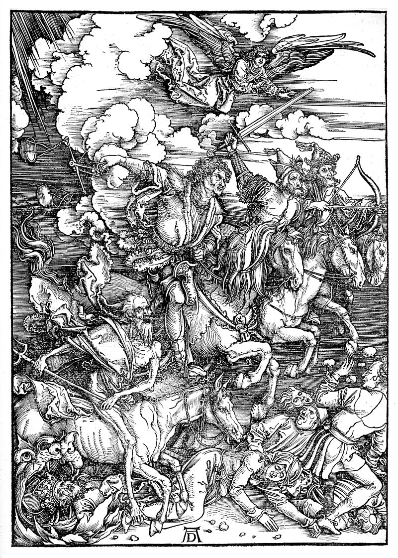"Albrecht Dürer, The Four Horsemen of the Apocalypse, from The Apocalypse, 1497-1498, woodcut, 15.4"" x 11"", Albrecht Dürer [Public Domain], via Wikimedia Commons."