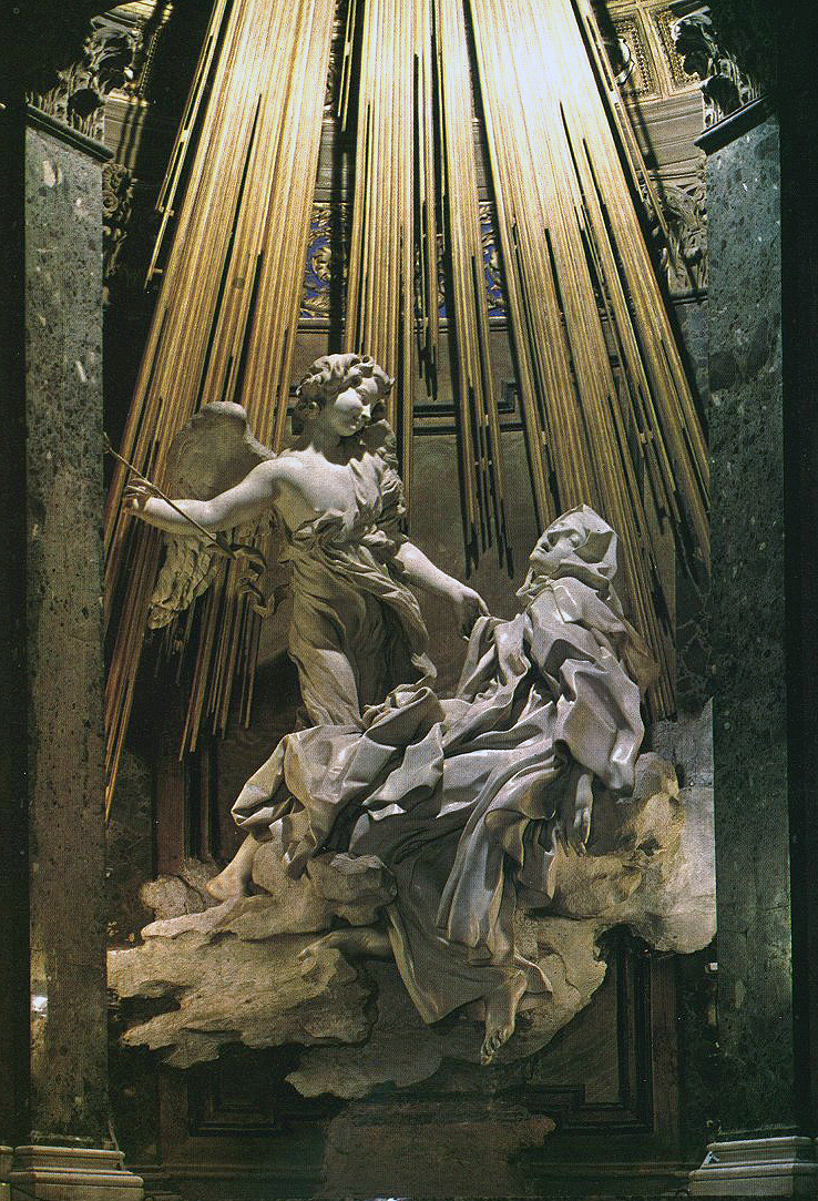 Gianlorenzo Bernini, The Ecstasy of St. Theresa, 1645-1652, marble, life-size, Coronaro Cahpel, Santa Maria della Vittoria, Rome.  Photo from Flickr available under a Creative Commons Attribution license.