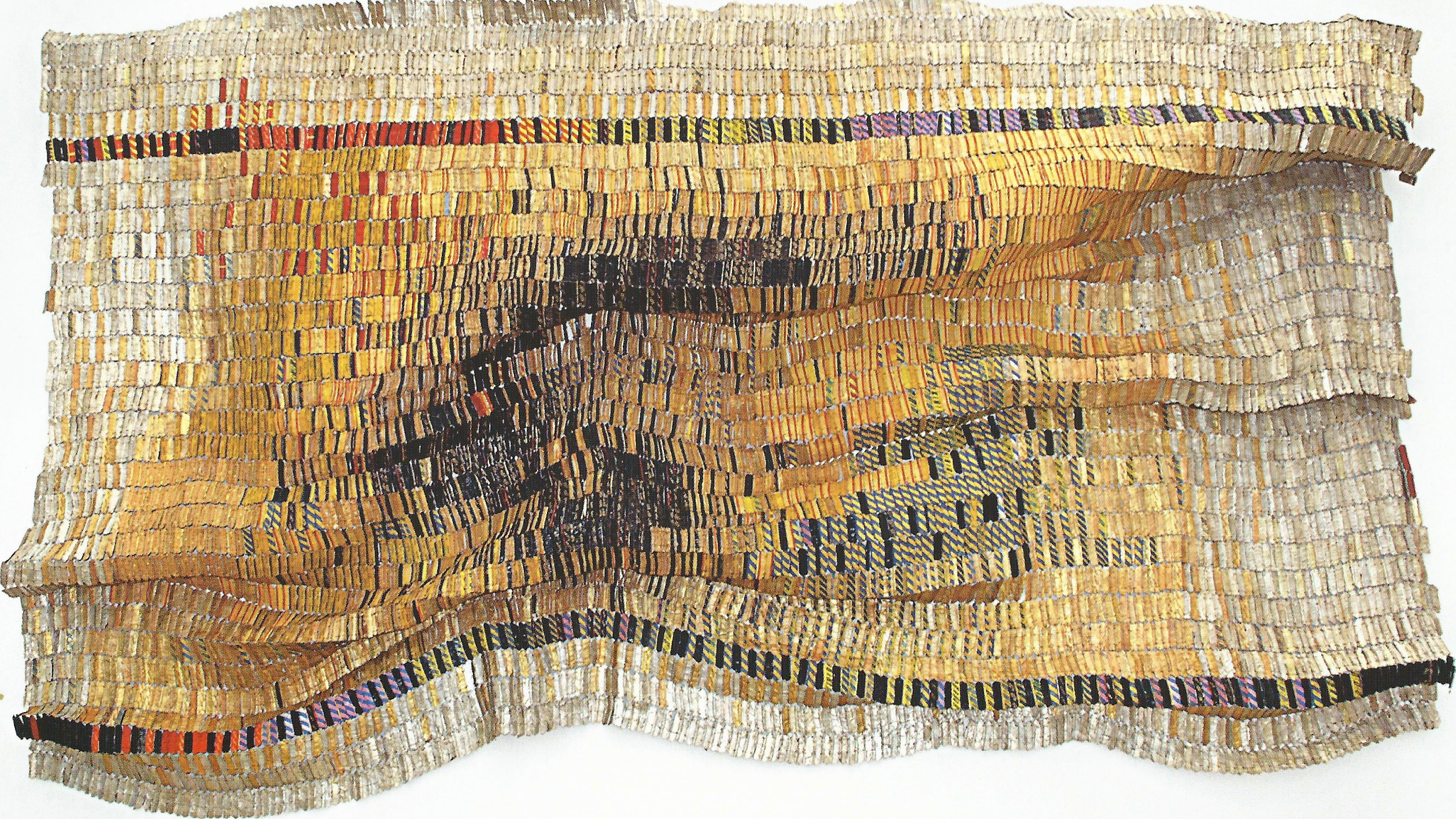 "El Anatsui, Untitled, 2007, aluminum and copper wire, 144"" x 195"", Blanton Museum of Art, The University of Texas at Austin, reproduction scanned by S. Coleman."