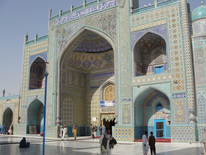 Shrine of Hazrat Ali, also know as the Blue Mosque, 15th century, Mazari Sharif, Afghanistan. Photo by By Michal Hvorecky, Creative Commons license via Wikimedia Commons