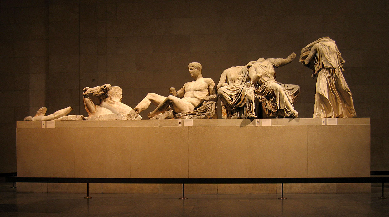 Sculptures from the east pediment of the Parthenon, c. 438-432 BCE, marble, over life-size, The British Museum of London, photo by Andrew Dunn under a Creative Commons Attribution license via Wikimedia Commons.