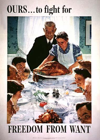Norman Rockwell, OURS… to fight for Freedom from Want, 1942, color lithograph, covered by fair use laws via Wikimedia Commons.