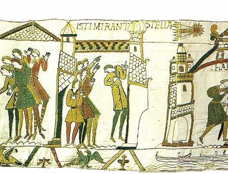"""Crowds Gaze in Awe at a Comet, detail of the Bayeux Tapestry, wool embroidery on linen, 20"""" high, Centre Guillaume le Conquérant, Bayeux, France, Image on website of Ulrich Harsh, Public Domain via Wikimedia Commons."""