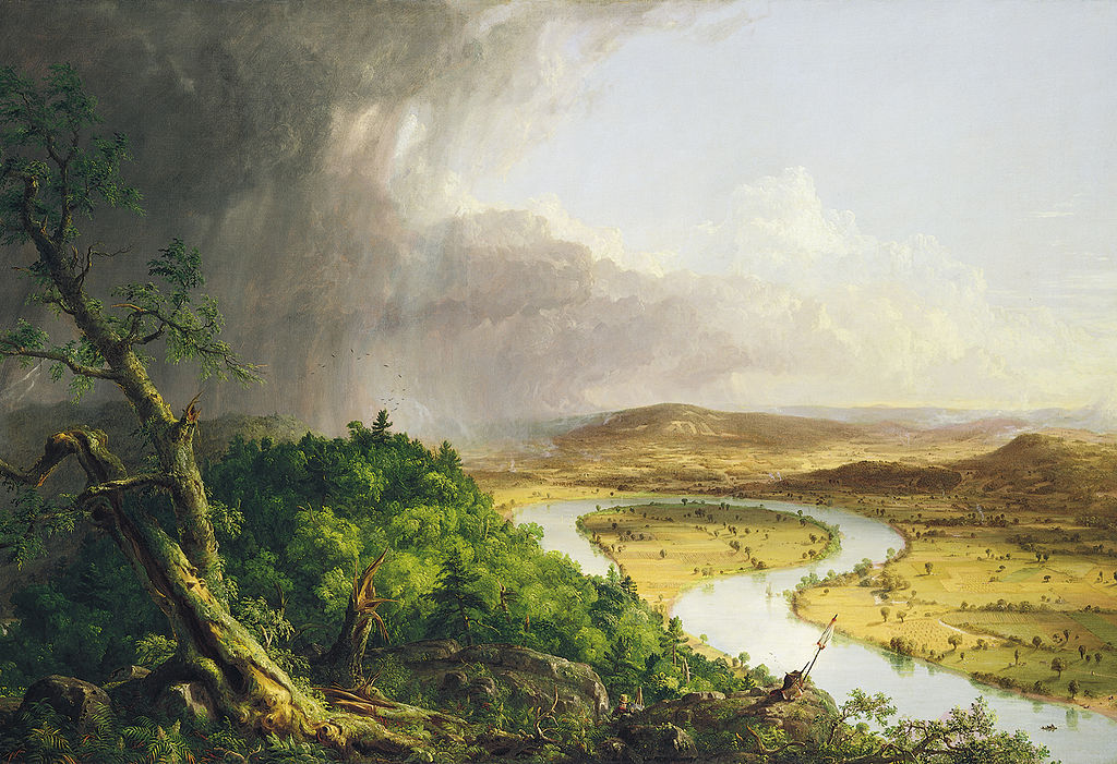 "Thomas Cole, The Oxbow, 1836, oil on canvas, 51½"" x 76"", Metropolitan Museum of Art, New York, Public Domain via Wikimedia Commons."
