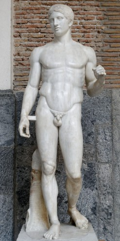 "Doryphoros, Roman copy of an original by Polykleitos from c. 450-44 BCE, Marble, 6'6"", Museo Archeologico Nazionales, Naples, Public Domain via Wikimedia Commons"