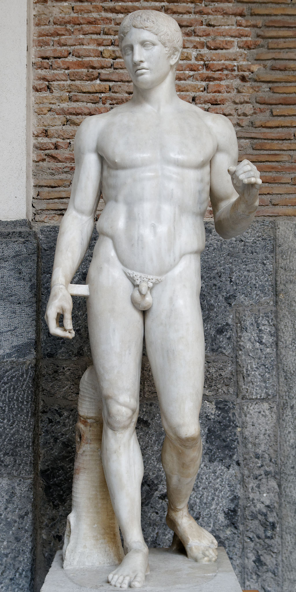 """Doryphoros, Roman copy of an original by Polykleitos from c. 450-44 BCE, Marble, 6'6"""", Museo Archeologico Nazionales, Naples, Public Domain via Wikimedia Commons"""