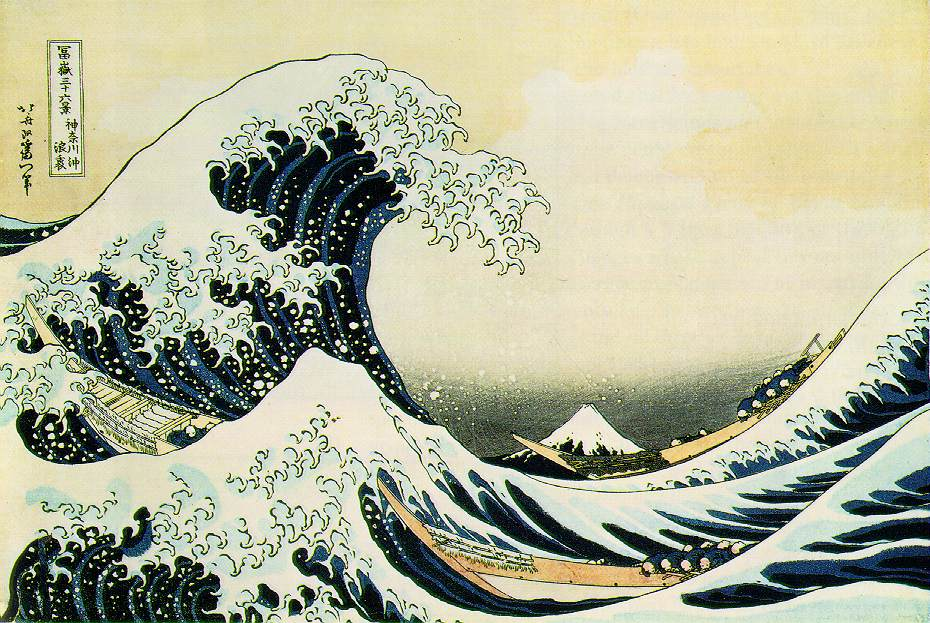 "Katsushika Hokusai, The Great Wave, Edo Period, c. 1831, woodblock print, 9⅞"" x 14⅝"", The Metropolitan Museum of Art, New York, Public Domain via Wikimedia Commons."