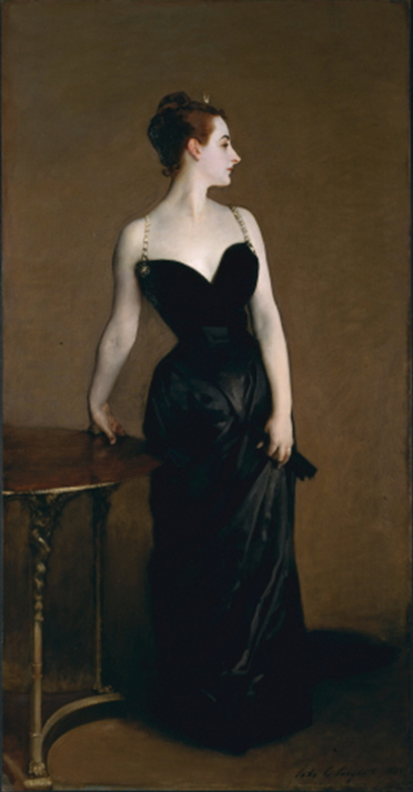 "John Singer Sargent, Portrait of Madame X (Madame Pierre Gautreau), 1883-84, oil on canvas, 82"" x 43"", Metropolitan Museum of Art, New York, Public Domain via Wikimedia Commons."