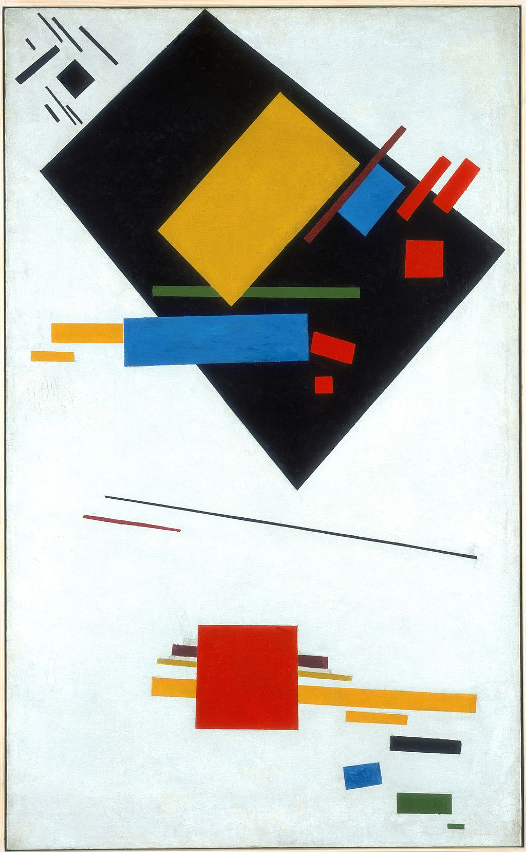 """Kazimir Malevich, Suprematist painting (with black trapezium and red square), 1915, oil on canvas, 40"""" x 24½"""", Stedelijk Museum, Amsterdam, Public Domain via Wikimedia Commons."""
