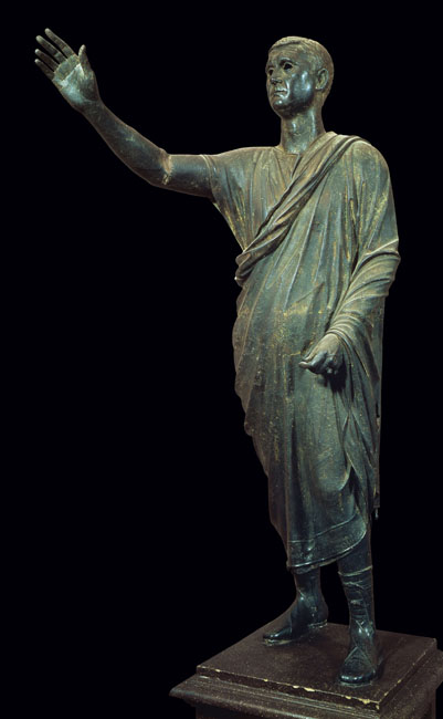 """Aullus Metellus, early 1st century BCE, Bronze, 5'9"""", Museo Archeologico Nazionale, Florence, Public Domain via Wikimedia Commons"""