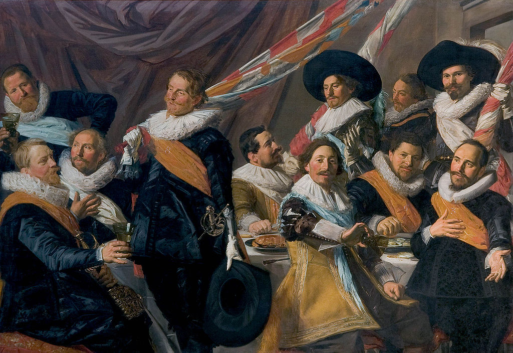 "Frans Hals, Officers of the St. George Civic Guard of Haarlem, 1627, oil on canvas, 70½"" x 101½"", Frans Hals Museum, Haarlem, Public Domain via Wikimedia Commons."