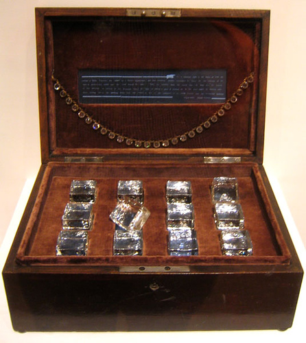 "Joseph Cornell, Taglioni's Jewel Casket, 1940, wood box with velvet, glass cubes, blue glass, and glass jewlry, ¾"" x 11⅞"" x 8¼"", Museum of Modern Art, New York, Photo by istolethetv - Flickr, Creative Commons Attribution license"