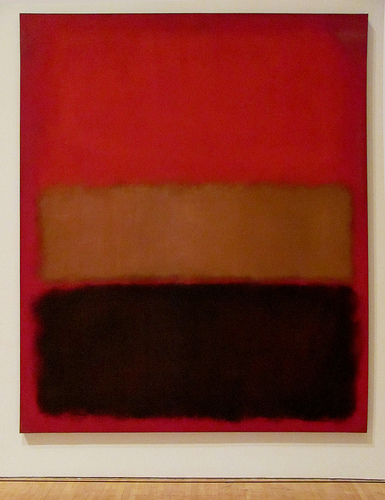 """Mark Rothko, No. 46 (Black , Ochre, Red Over Red) , 1957, oil on canvas, 8' 3¼"""" x 6' 9¾"""", Museum of Contemporary Art, Los Angeles, Photo by rocor [Flickr] Creative Commons Attribution license."""