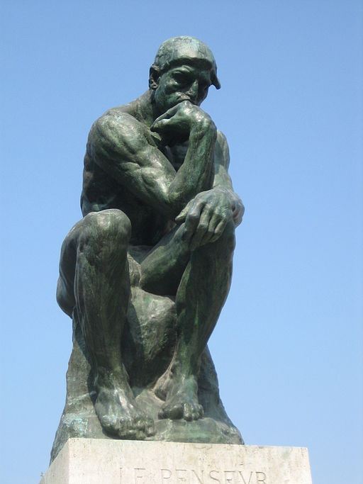 """Auguste Rodin, The Thinker, 1879-1887, bronze, 27½"""" high, Musée Rodin, Paris, Photo by Gertjan R., Creative Commons Attribution license via Wikimedia Commons."""