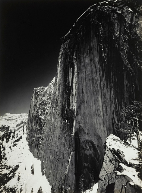 "Ansel Adams, Monolith, The Face of Half Dome, Yosemite National Park, California c. 1927, gelatin silver photograph, 8"" x 6"", Photo by Cea, Flickr, Creative Commons Attribution License."
