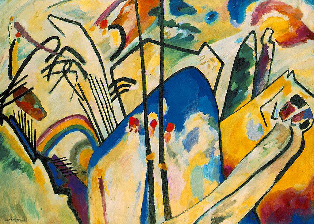Wassily Kandinsky, Composition No. 4, 1911, oil on canvas, Kunstsammlung Nordrhein-Westfallen, Dusseldorf, Photo by Wm M. Martin, Public Domain via Wikimedia Commons.