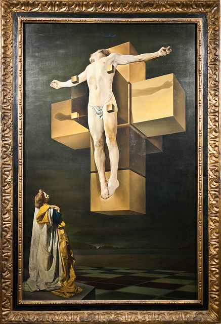 """Salvador Dalí, Crucifixion, 1954, oil on canvas, 76 ½"""" x 48 ¾"""", Metropolitan Museum of Art, New York, Photo by gtrwndr87, Flickr, Creative Commons Attribution License."""