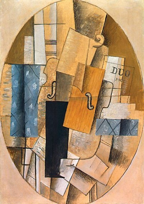 """Georges Braque, Still Life with Violin, 1913, oil on canvas and paper, 36 1/2"""" x 26"""", Los Angeles County Museum, Los Angeles, Photo by C Leavitt, Flickr, Creative Commons Attribution License."""