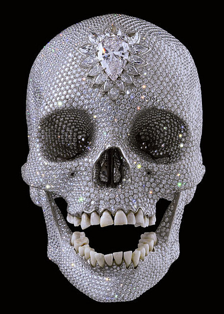 Damien Hirst, For the Love of God, 2007, platinum, diamonds and human teeth, White Cube Gallery, London, Photo by Secretly Ironic, Flickr, Creative Commons Attribution License.