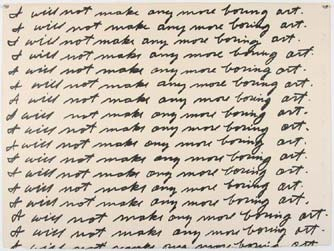 "John Baldessari, I Will Not Make Any More Boring Art, 1971, lithograph, 22 3/8"" x 29 9/16"", Museum of Modern Art, New York, Photo by Locator, Flickr, Creative Commons Attribusion License."