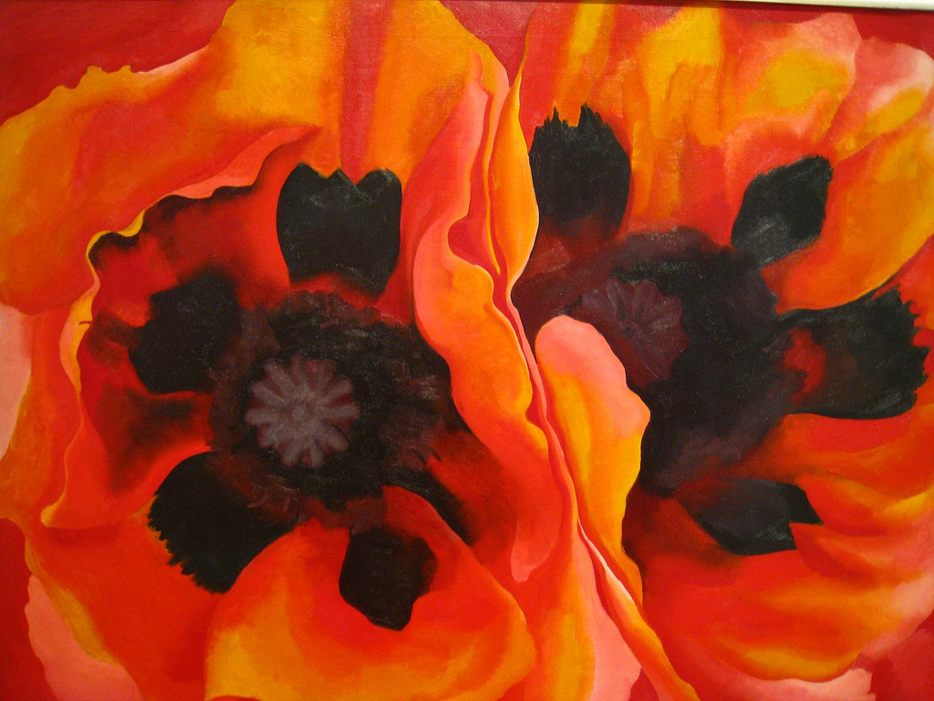 "Georgia O'Keeffe, Oriental Poppies, 1928, oil on canvas, 30"" x 40"", Frederick R. Weisman Art Museum, Minneapolis, Photo by 6-3-2, Flickr, Creative Commons Attribution License."