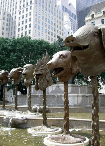Ai Weiwei, Zodiac Heads, 2010, bronze, Installation in the Pulitzer Fountain, Grand Army Plaza, New York City, June 2011, Photo by Squish_E, Creative Commons Attribution License via Flickr.
