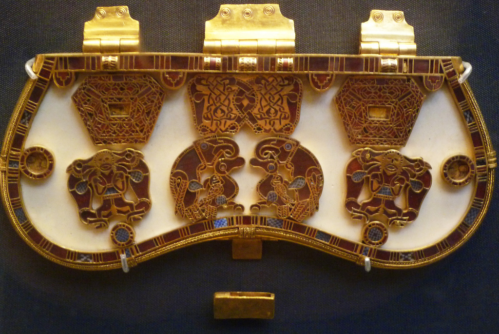 Purse Lid from the Sutton Hoo Burial Ship, c. 700, gold, enamel, garnets, The British Museum, London, Photo by profzucker, Flickr, Creative Commons Attribution License.
