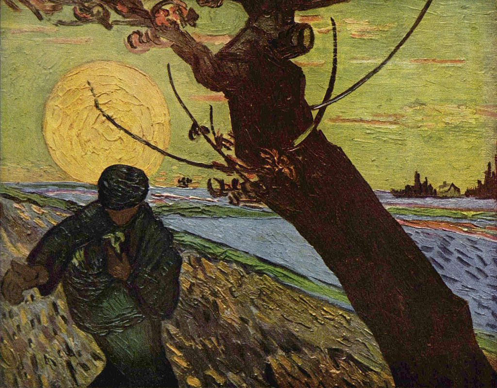 Vincent van Gogh, Sower at Sunset, 1888, oil on canvas, Van Gogh Museum, Amsterdam, Public Domain via Wikimedia Commons.