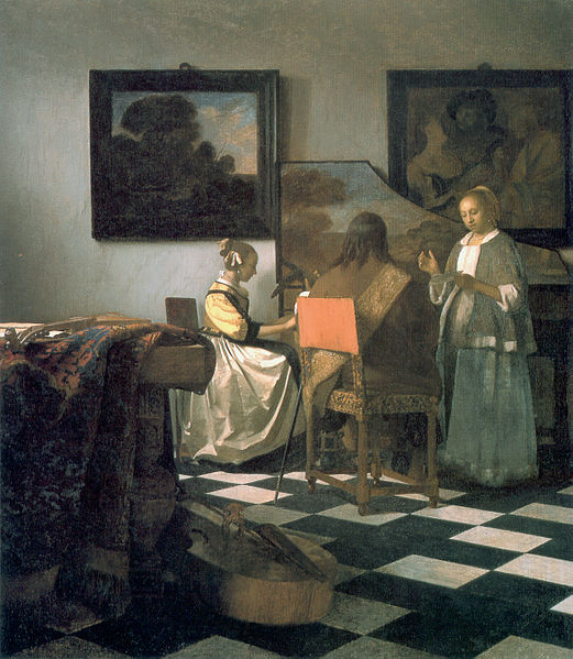 "Jan Vermeer, The Concert, c. 1664, oil on canvas, 28½"" x 25½"", stolen from the Isabella Stewart Gardner Museum, Public Domain via Wikimedia Commons."
