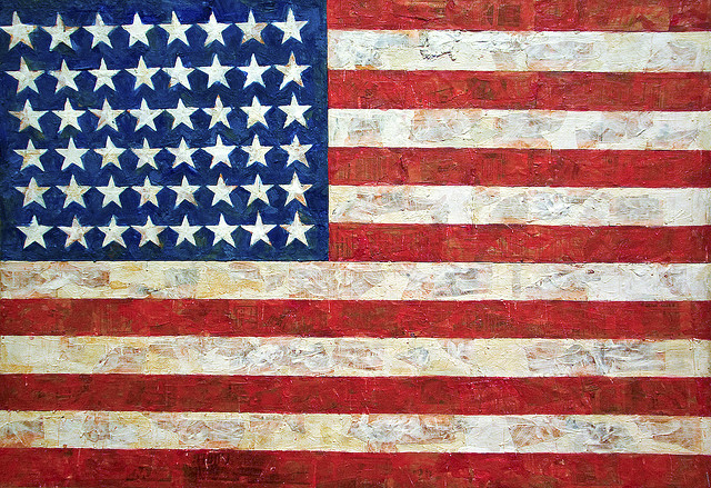 """Jasper Johns, Flag, 1954-55, encaustic, oil, and collage on fabric mounted on plywood, 42¼"""" x 60⅝"""", Museum of Modern Art, New York, Photo by Diego López, Flickr, Creative Commons Attribution License."""