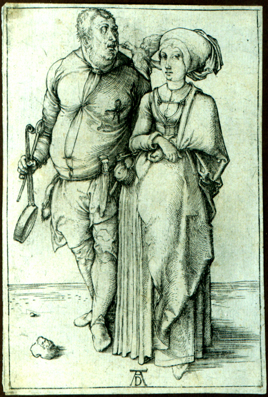 Albrecht Dürer, The Cook and His Wife, c. 1497, engraving, Public Domain via Wikimedia Commons, previously for sale at Sears for $225, framed.