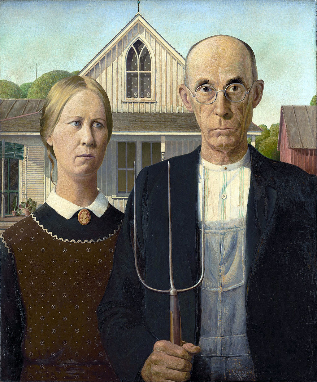 """Grant Wood, American Gothic, 1930, oil on beaver board, 30.7"""" x 25.7"""", The Art Institute of Chicago, Public Domain via Wikimedia Commons."""