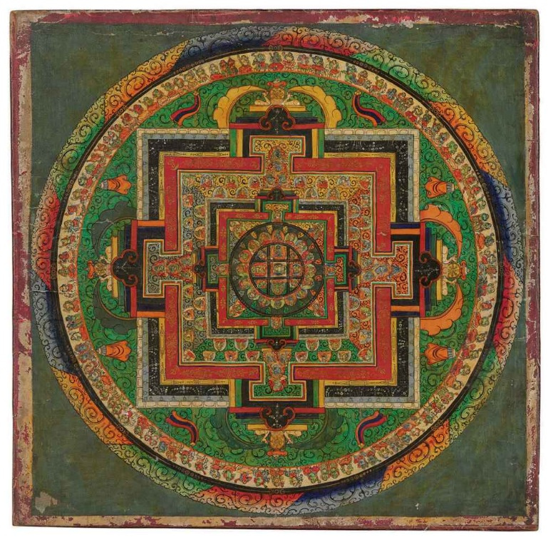 Mahavairocana Mandala, Tibet, 19th century, painted wooden panel, The James and Marilyn Alsdorf Collection, Photo by Cea., Creative Commons Attribution License via Flickr.