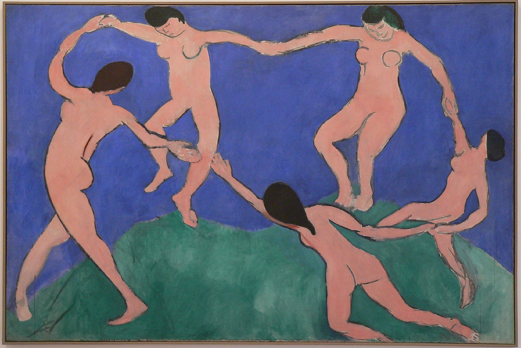 """Henri Matisse, Dance, 1909, oil on canvas, 8' 6 1/2"""" x 12' 9 1/2"""", Museum of Modern Art, New York, Photo by Troels Myrup via Flickr, Creative Commons Attribution License."""