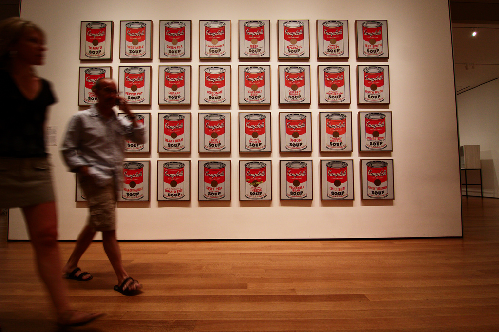 "Andy Warhol, Campbell Soup Cans, 1962, each canvas 20"" x 16"", Museum of Modern Art, New York, Photo by Gwenaël Piser via Flickr, Creative Commons Attribution License."