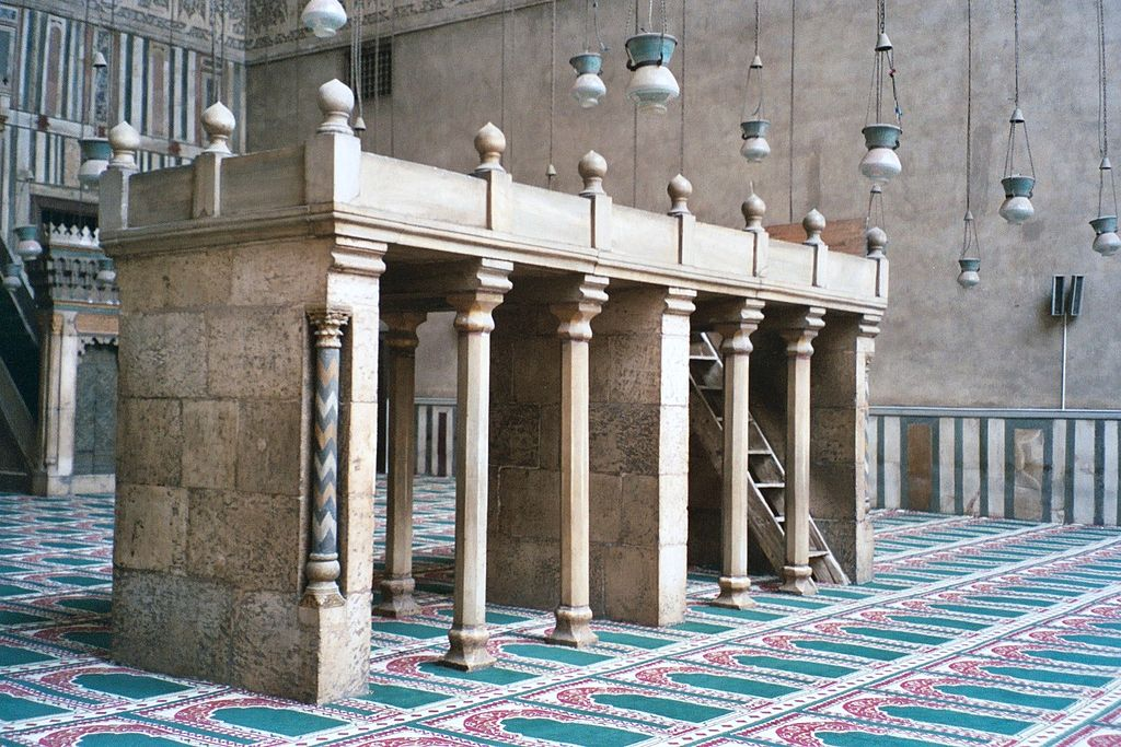 Dikka in the Mosque-Madrassa of Sultan Hassan, 1356 CE, marble, photo by Mbenoist, Public Domain via Wikimedia Commons, GNU Free Documentation License.