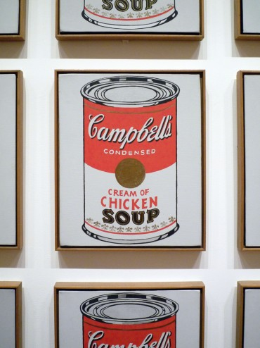 "Andy Warhol, detail of Campbell Soup Cans, 1962, each canvas 20"" x 16"", Museum of Modern Art, New York, Photo by profzucker via Flickr, Creative Commons Attribution License."
