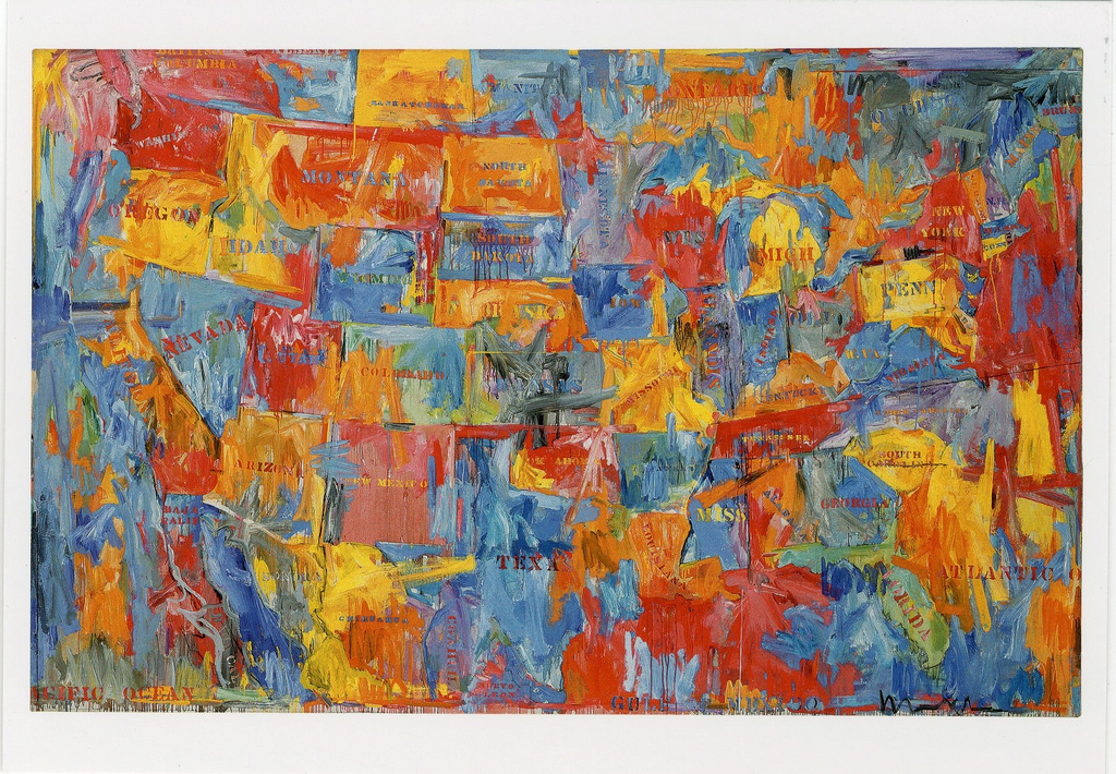 """Jasper Johns, Map, 1961, oil on canvas, 6' 6"""" x 10' 3 1/8"""", Museum of Modern Art, New York, Photo by neutralSurface via Flickr, Creative Commons Attribution-NonCommercial-NoDerivs 2.0 Generic License."""