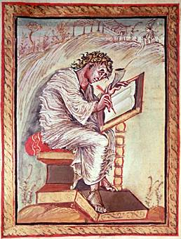 "St. Matthew from the Gospel Book of Archbishop Ebbo of Reims, 816-835, ink and colors on vellum, 10¼"" x 8¾"", Municipal Library, Épernay, France, Pulbic Domain via Wikimedia Commons."