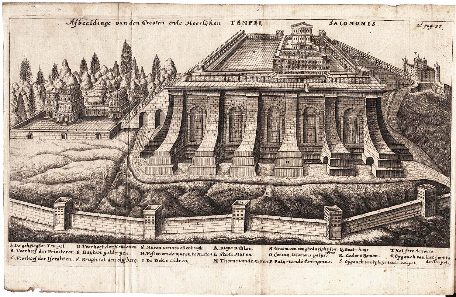 """Engraving of De templo Hierosolymitano from Jacob Judah Leon's book on the subject, published by Johannes Saubertus (Latin Edition), Helmstadt, 1665, engraving, 6.1"""" x 4.3"""", this artwork is in the public domain."""