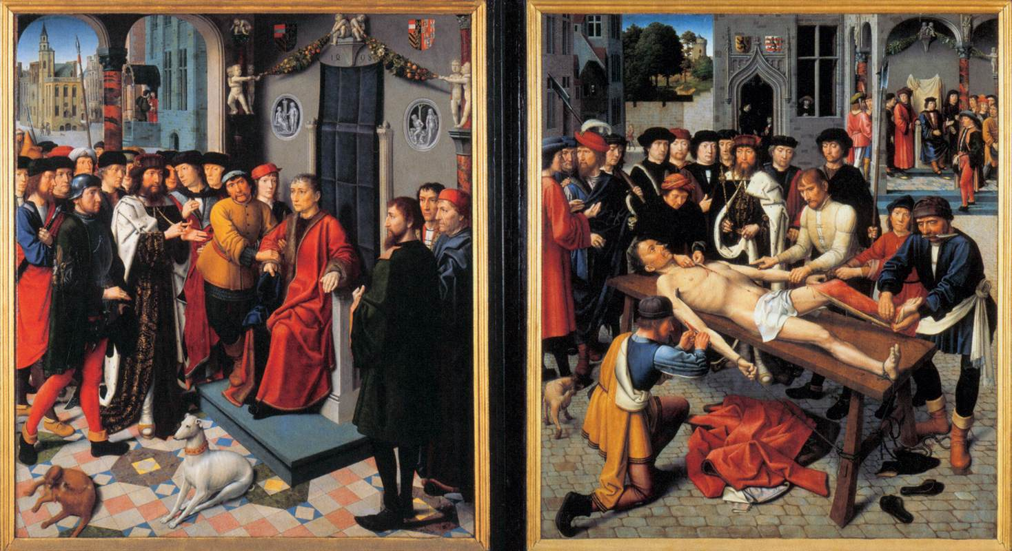 """Gerard David, The Judgment of Cambyses, 1498, oil on panel, 79.5"""" x 137.6"""", Groeningemuseum, Bruges, Public Domain via Wikimedia Commons."""