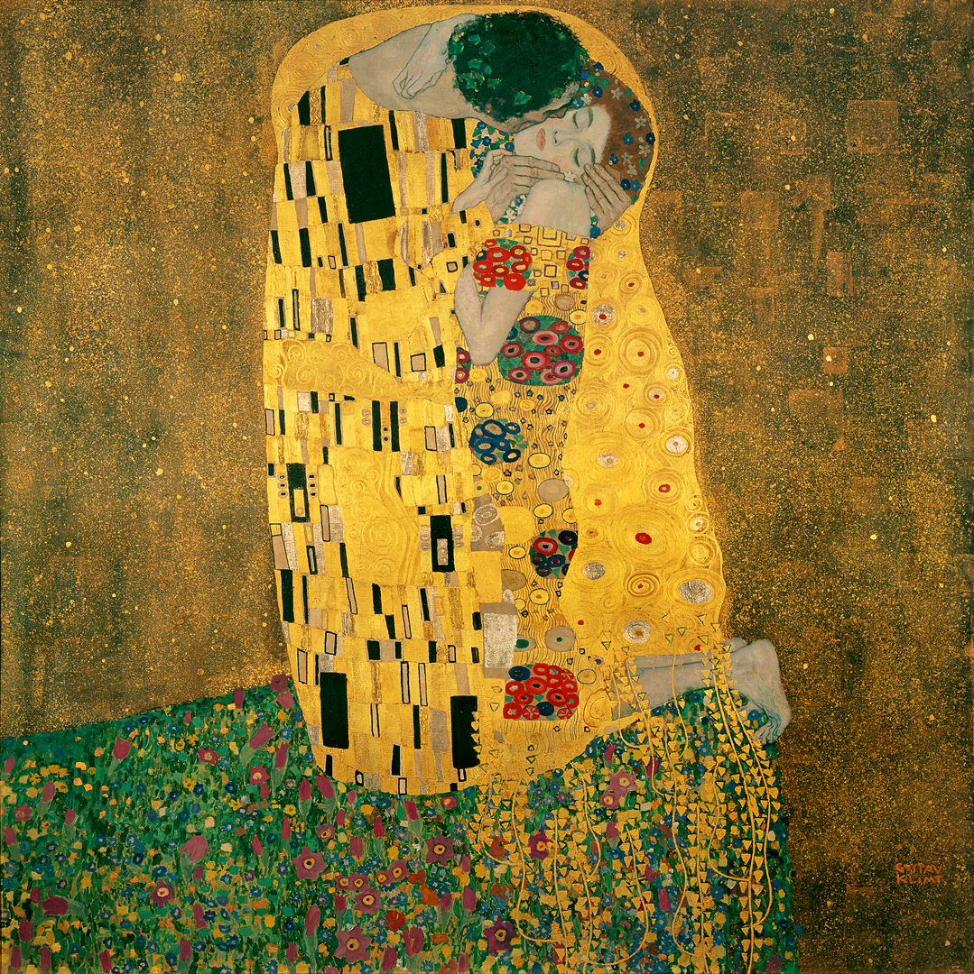 """Gustav Klimt, The Kiss, 1907-1908, oil, silver and gold on canvas, 70.9"""" x 70.9"""", Austrian Gallery Belvedere, Vienna, Public Domain via Wikimedia Commons."""