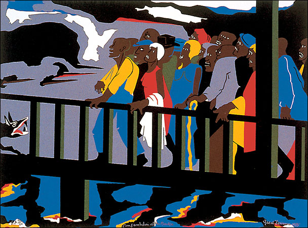 """Jacob Lawrence, Confrontation at the Bridge from the series entitled, Not Songs of Loyalty Alone: The Struggle for Personal Freedom, 1975, Silkscreen, 19.5"""" x 25.85"""", Photo by Zeal Harris via Flickr, Creative Commons Attribution-NoDerivs 2.0 Generic License."""