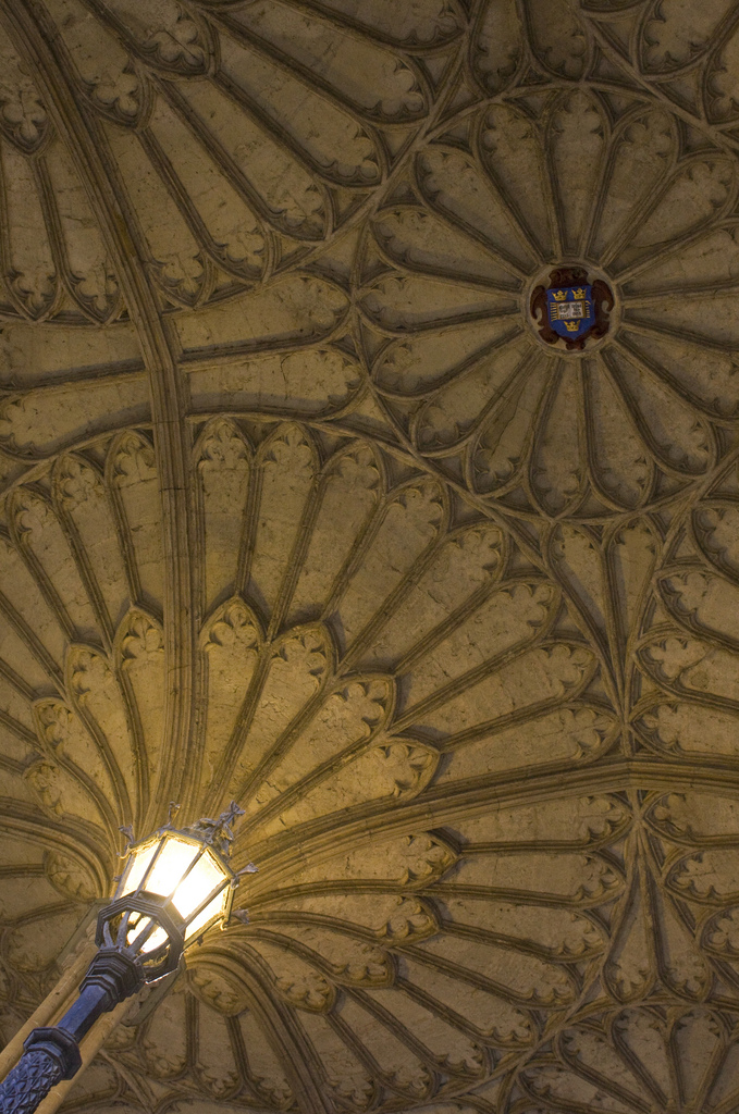 Detail of the stone vault in the staircase to the Refectory of Christ Church College, Oxford, 1847, Photo by Fr Lawrence Lew, O.P. via Flickr, Creative Commons Attribution-NonCommercial-NoDerivs 2.0 Generic License.