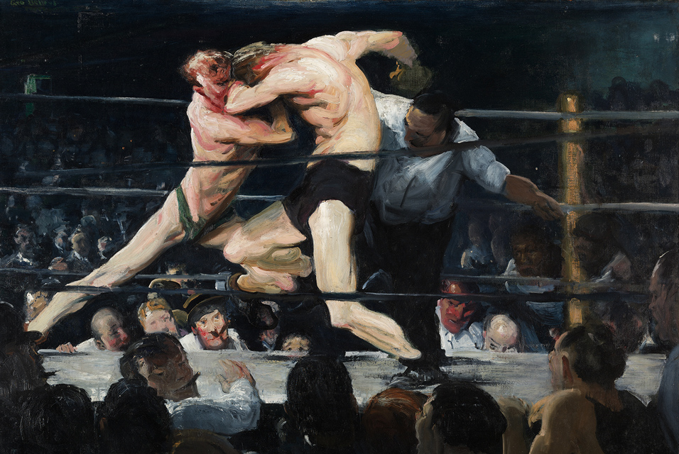 """George Bellows, Stag at Sharkey's, 1909, oil on canvas, 36 ¼"""" x 48 ¼"""", The Cleveland Museum of Art, Cleveland, Photo by ArtDaily.com, Public Domain via Wikimedia Commons."""