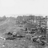 Alexander Gardner, Photograph of the field at Antietam, Dead by a fence at the Hagerstown Turnpike, looking north; the Turnpike is to the right of the fence, the dirt lane on the left leads to the farm of David Miller, Washington, D.C., From the Library of Congress' American Memory collection; original location: http://memory.loc.gov/ndlpcoop/nhnycw/ad/ad18/ad18045v.jpg, Public Domain via Wikimedia Commons.
