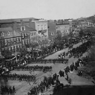 Alexander Gardner, Lincoln's Funeral on Pennsylvania Avenue, April 19, 1865, , Washington, D.C., Library of Congress, reproduction number LC-BH823- 145, Public Domain via Wikimedia Commons.