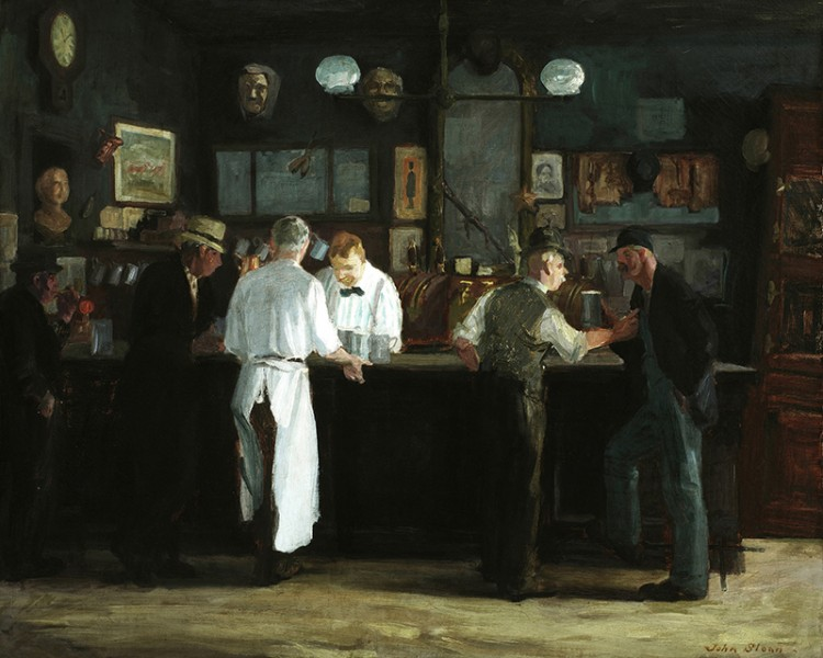 """John Sloan, McSorley's Bar, 1912, oil on canvas, 26"""" x 32"""", Detroit Institute of Arts, Detroit, Image Courtesy of 1000 Museums."""