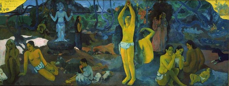 "Paul Gauguin,  Where do we come from? Who are we? Where are we going?, 1897, oil on canvas, 54.8"" × 147.5"", Museum of Fine Arts, Boston, Public Domaini via Wikimedia Commons."